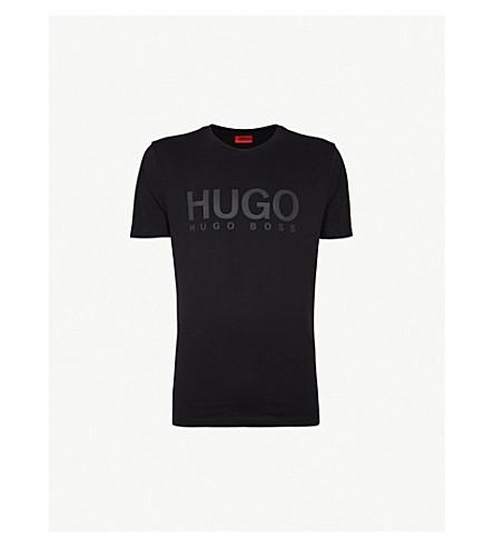HUGO徽标打印平纹针织棉 T 恤 (黑色