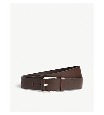 BOSS Tanned leather belt (Dark+brown