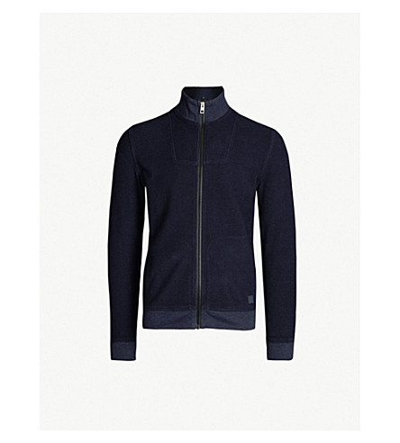 BOSS Funnel-neck cotton-jersey jacket (Dark blue