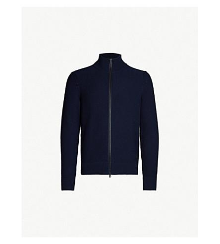 BOSS Funnel-neck cotton-blend jacket (Dark blue