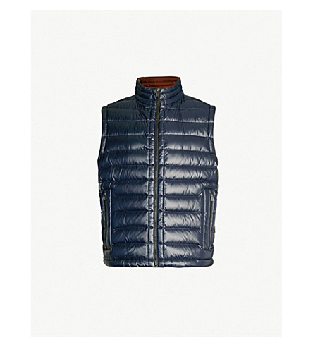 BOSS Quilted padded gilet (Dark blue
