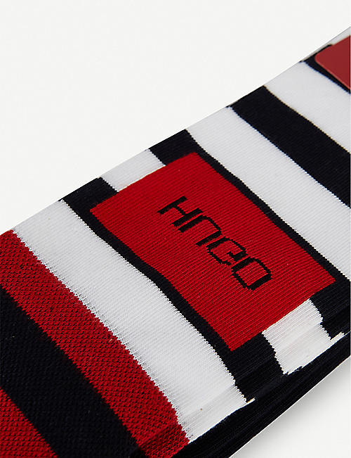 HUGO Striped cotton-blend socks pack of two