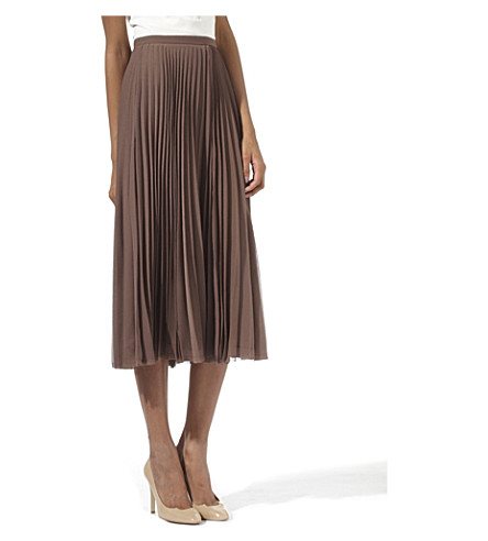 WHISTLES Carrie pleated midi skirt (Brown
