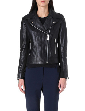 WHISTLES Lita leather biker jacket