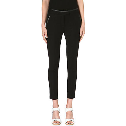 WHISTLES Nicolette leather-trimmed trousers (Black