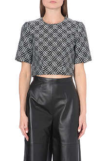 WHISTLES Fran jacquard cropped top