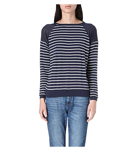 WHISTLES Fitted stripe top (Navy