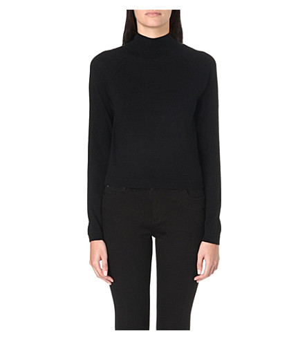 WHISTLES Ella cropped turtleneck jumper (Black