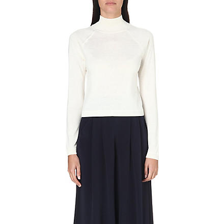 WHISTLES Ella cropped turtleneck jumper (Cream