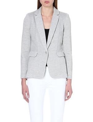 WHISTLES Ella jersey-panel blazer