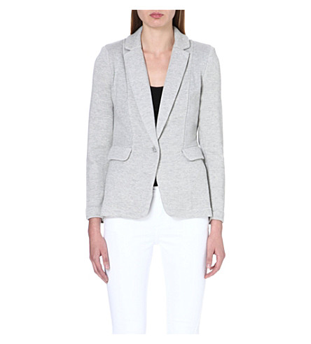 WHISTLES Ella jersey-panel blazer (Grey