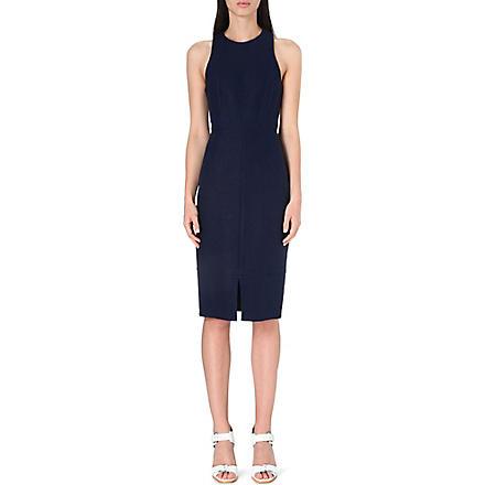 WHISTLES Split-hem linen-blend midi dress (Navy