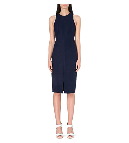 WHISTLES Split-hem linen-blend midi dress (Navy