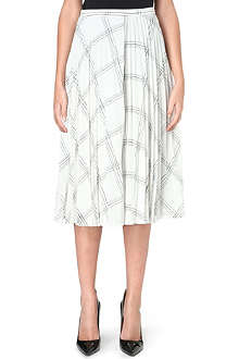 WHISTLES Ellie grid-print pleated skirt