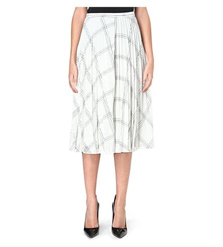 WHISTLES Ellie grid-print pleated skirt (Monochrome