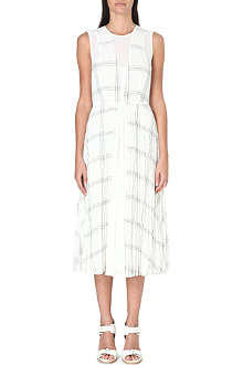 WHISTLES Adrianna grid-print pleated dress