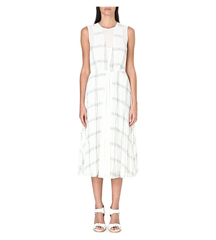 WHISTLES Adrianna grid-print pleated dress (Monochrome