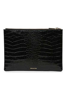 WHISTLES Medium shiny croc-embossed leather pouch