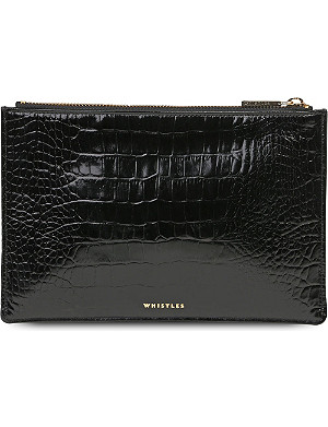 WHISTLES Shiny croc-embossed leather clutch