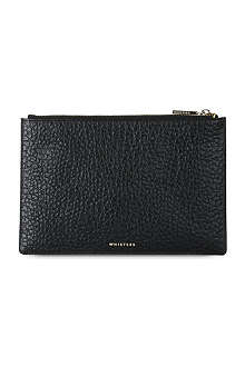 WHISTLES Small bubble-effect leather clutch