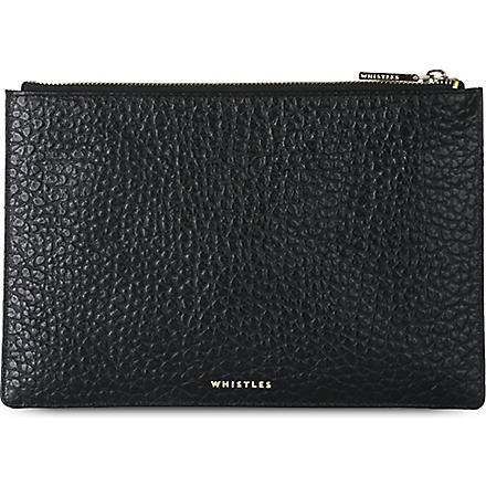 WHISTLES Small bubble-effect leather clutch (Black
