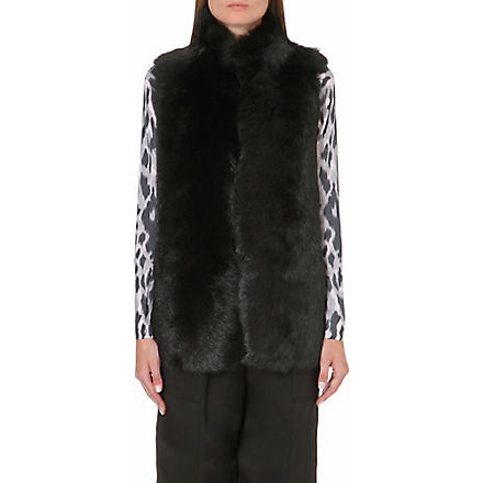 WHISTLES Leather-lined sheepskin gilet (Black
