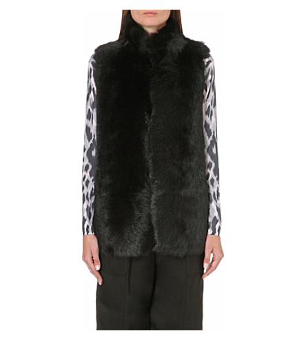 WHISTLES Leather-lined sheepskin gilet (Black