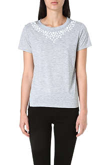 WHISTLES Embellished cotton t-shirt