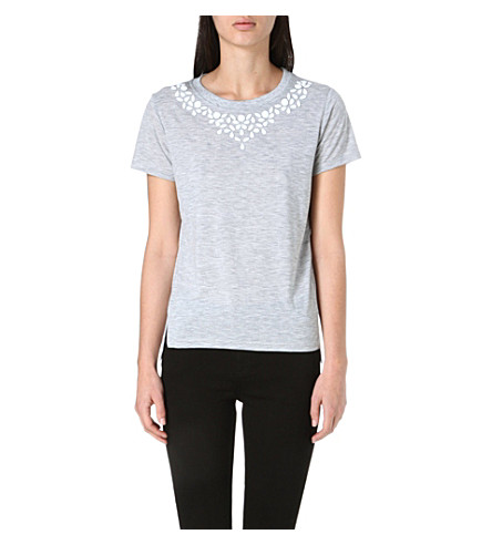 WHISTLES Embellished cotton t-shirt (Grey