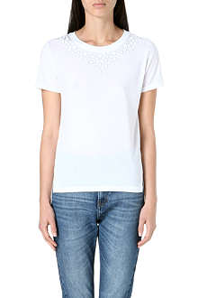 WHISTLES Embellished-neckline t-shirt