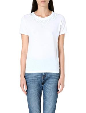 WHISTLES Embellished-neckline t-shirt