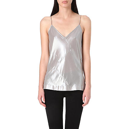 WHISTLES Foil patchwork top (Silver