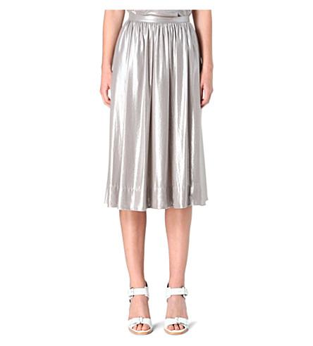 WHISTLES Daisy foil midi skirt (Silver