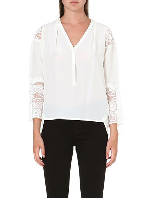 WHISTLES Isadora lace-insert silk blouse