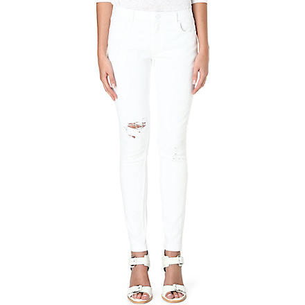WHISTLES Distressed skinny mid-rise jeans (White