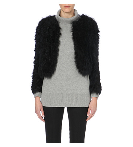 WHISTLES Cropped shearling jacket (Black