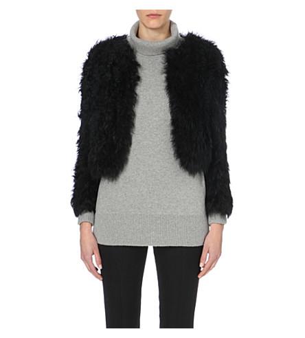 WHISTLES Cropped shearling jacket (Black