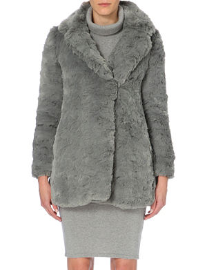 WHISTLES Kumiko textured faux-fur coat