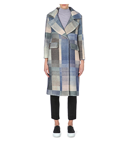 WHISTLES Hoshi checked wool-blend coat (Multi-coloured