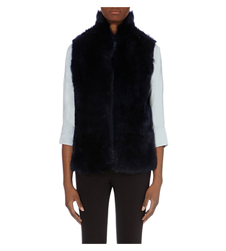 WHISTLES Open-front sheepskin gilet (Navy