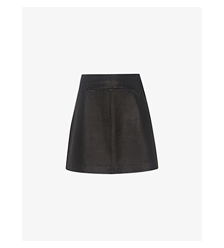WHISTLES Leather mini skirt (Black