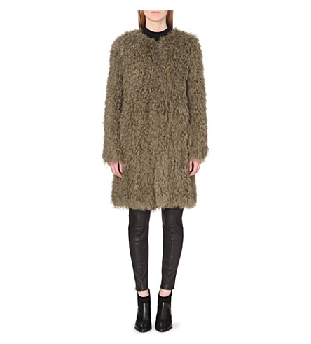 WHISTLES Knitted shearling coat (Khaki/olive