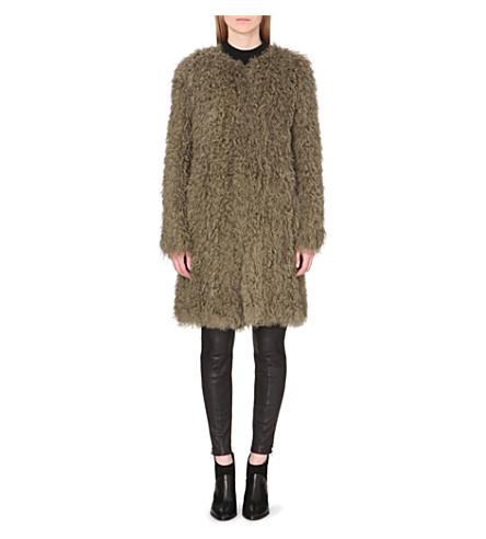 WHISTLES Knitted shearling coat (Khaki/olive