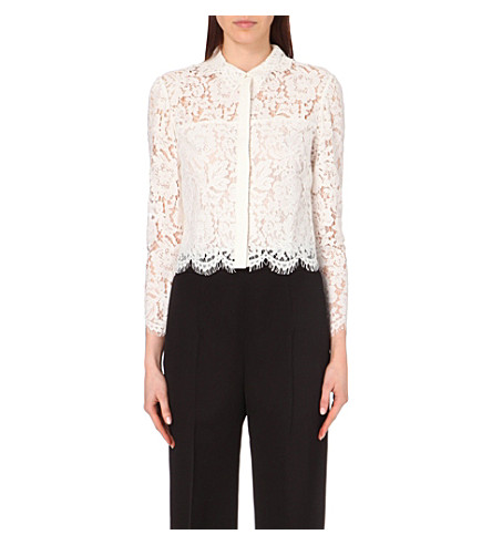 WHISTLES Chay lace cropped shirt (Cream