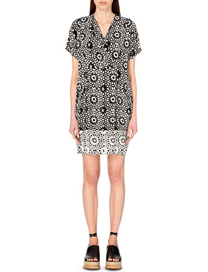 WHISTLES Louisa mosaic-print cupro dress