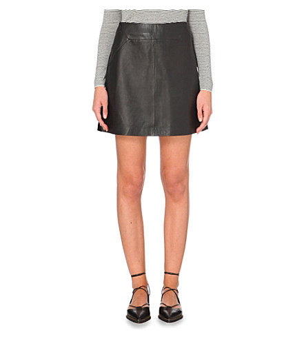whistles a line leather skirt selfridges
