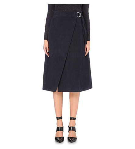 WHISTLES Wrap-style suede skirt (Navy