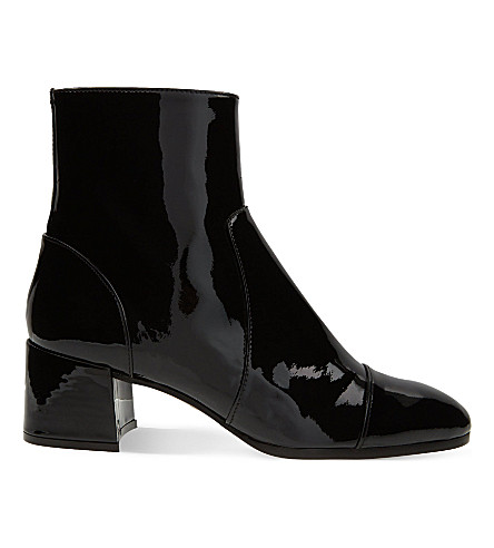 WHISTLES Bixa patent leather ankle boots (Black