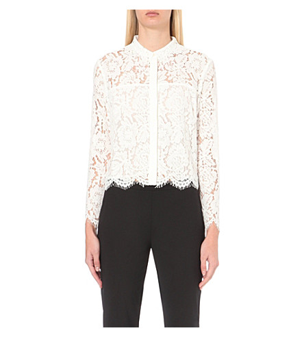 WHISTLES Chay lace shirt (Cream
