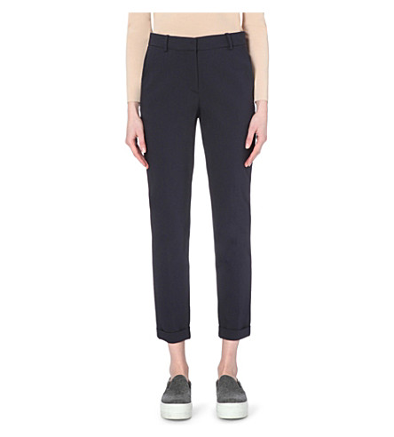 WHISTLES Sadie tapered crepe trousers (Navy